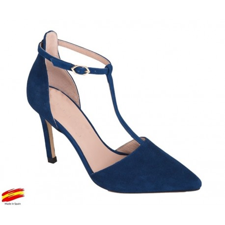 Zapato con Tacón Alto Ante Azul Indico. Alarcón.