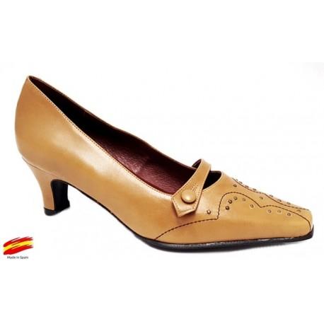 Zapato Mujer Ancho Especial En Piel. Sanapie