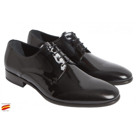 Zapato Novio Piel Charol Negro. Jr Almansa