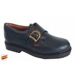 Zapato Colegial Niño Con Hebilla Todo Piel y Cosido .