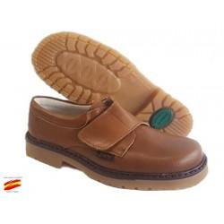 Zapato Colegial Niño Con Velcro Todo Piel y Cosido .