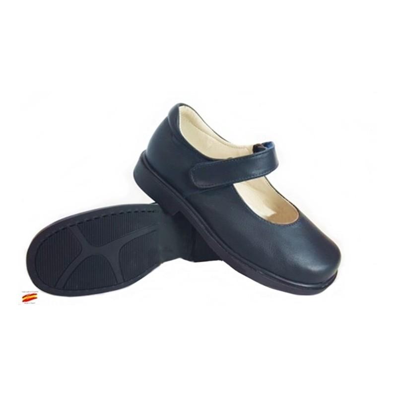 Zapato Colegial Niña Con Velcro Todo Piel y Cosido .