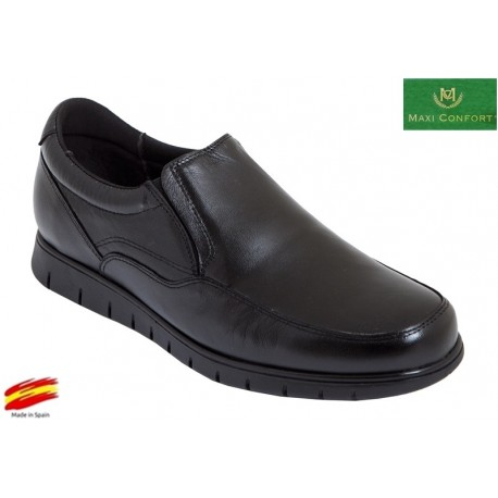 Zapato Hombre Confort Piel Negro. Maxi Confort