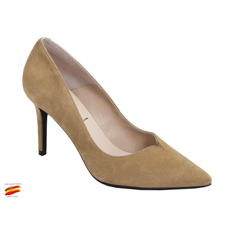 Zapato Mujer Piel Ante con tacón Alto. Alarcón.