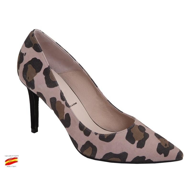 Zapato Mujer Piel Animal Print Tacón Alto. Alarcón.