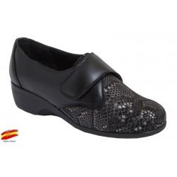 Zapato Confort Piel y Licra. Duendy