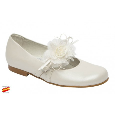 Zapato Comunión-Ceremónia Niña Piel y Adorno Flores