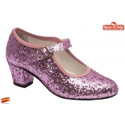 Zapato Tacón Pasos de Baile de Flamenca Glitter