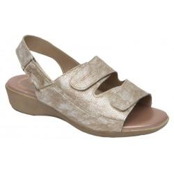 Especial Pies Delicados Sandalia Piel Velcros Platino. Miba