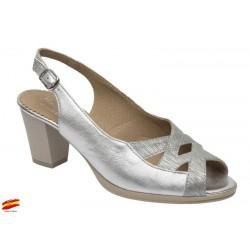 Sandalia Ancho especial Piel Plata. Maxi Confort