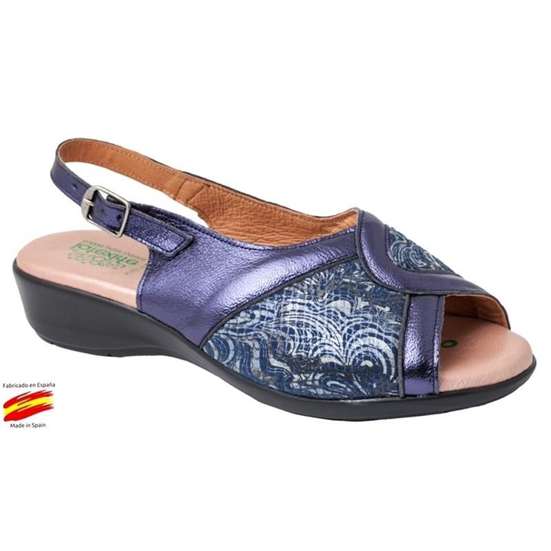 Sandalia Especialmente Cómoda Piel Azul.Miba