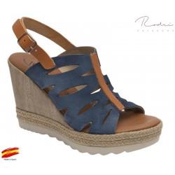 Sandalia Cuña Alta Piel Jeans. Rodri.