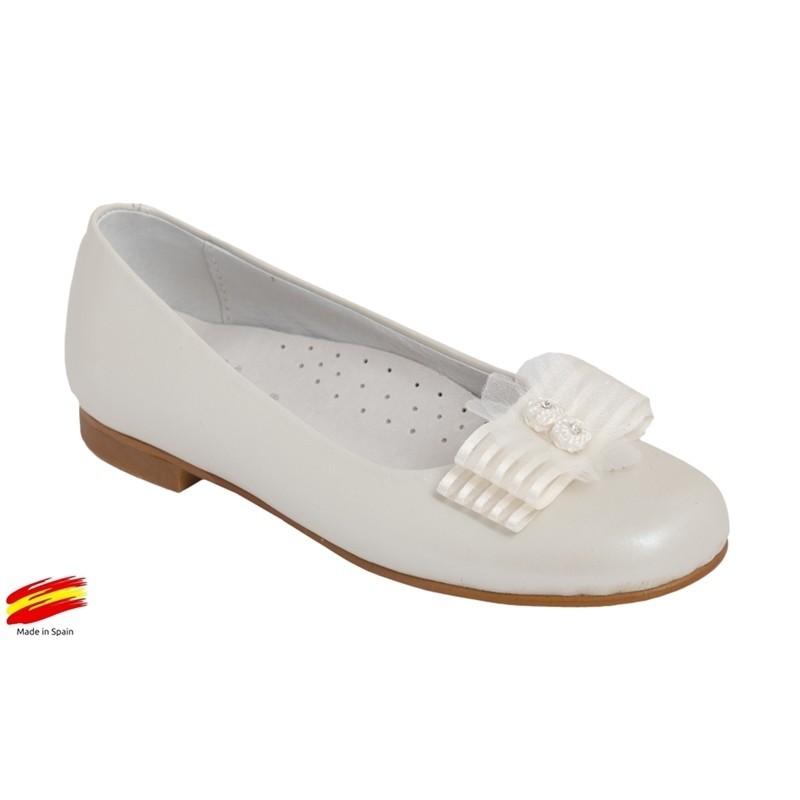Zapato Ceremónia-Comunón Piel Beig Nacarado de Niña.