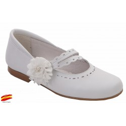 Zapato De Niña Comunión-Ceremónia Piel Blanco.