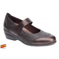 Zapato Confort Ancho Especial Plantilla Extraíble Piel Marrón. Fiorella