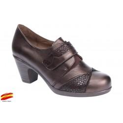Zapato Confort Ancho Especial Piel Licra y Plantilla Extraible Marrón. Fiorella
