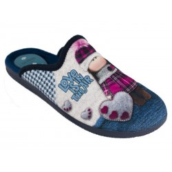 Zapatilla Mujer De casa Invierno  Love Air Azul.