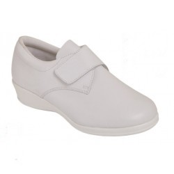 Zapato Velcro Anatómico Piel Blanco. D'chus.