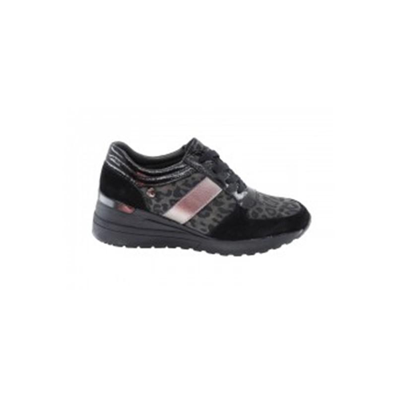 Zapato Confort Cuña Piel Negro-Leopardo.  Amarpies