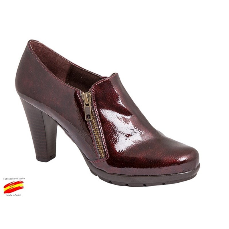 Zapato Mujer Tacón Alto Piel Granate. Rodri