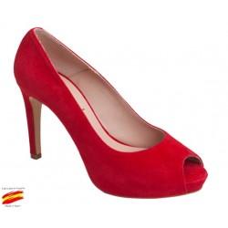 Zapato Piel Elegante Mujer Piel Rojo Tacón y Plataforma. Alarcón.