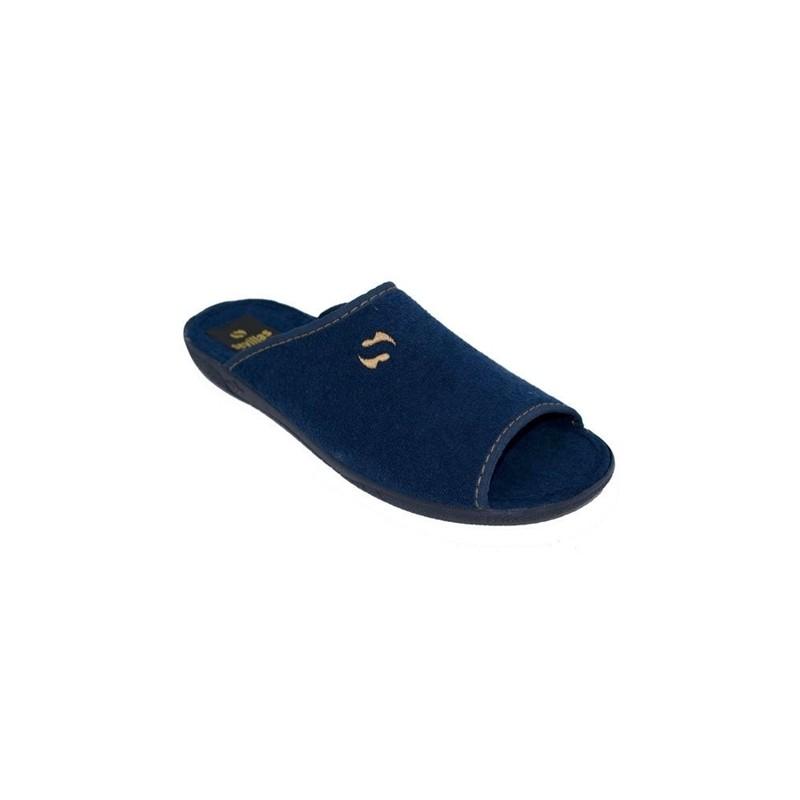 Zapatillas Chinela de Estar por Casa de Verano Hombre Toalla Abierta Marino Tallas Grandes.
