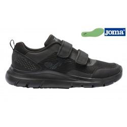Joma Corinto Velcro Zapatilla Negro Confort Horma Ancha.