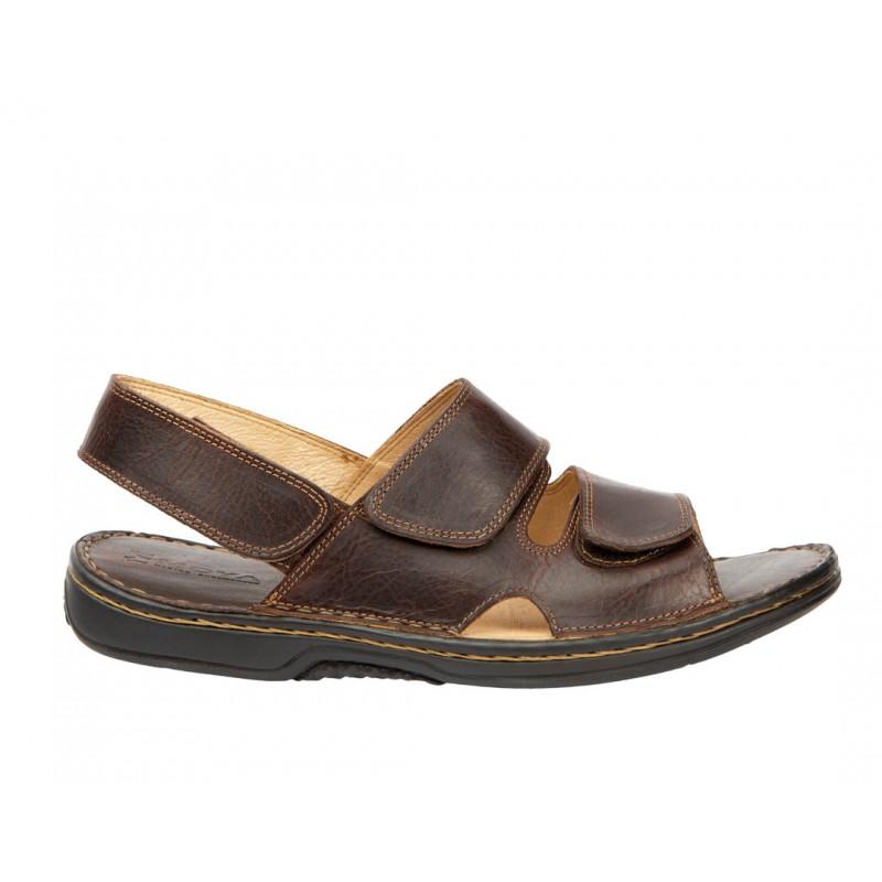 Sandalia Doble Velcro Cómoda Hombre Piel Marrón.