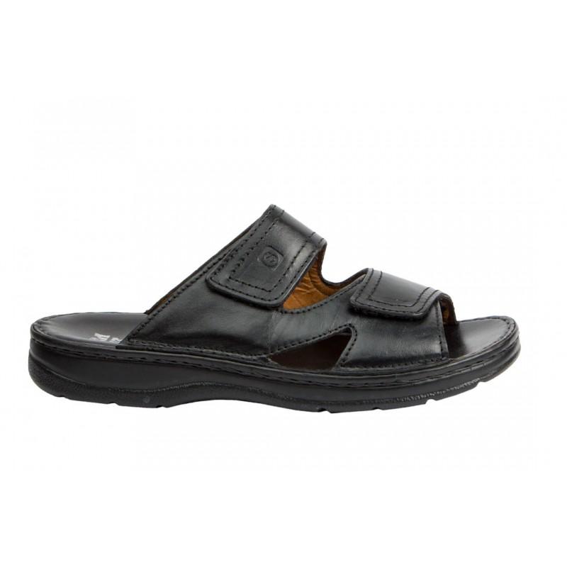 Sandalia Doble Velcro Hombre Cómoda Piel Negro..
