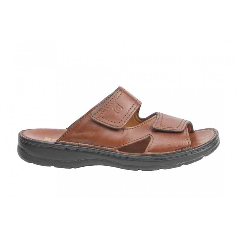 Sandalia Velcros Hombre Cómoda Piel Miel.