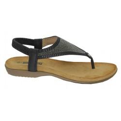 Sandalia Mujer Dedo Confort Plana Color Negro. Amarpies