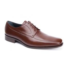Zapato  Cordón Piel Caoba Ancho Especial. Almansa