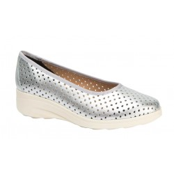 Zapato Mujer Cómodo Piel Plata Calado. Maxi Confort