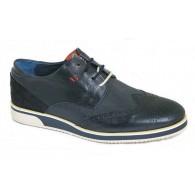 Zapato Vestir Sport Piel Azul. Dj Santa