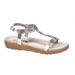 Sandalia Niña Tiras Decoradas Blanco. Crecendo
