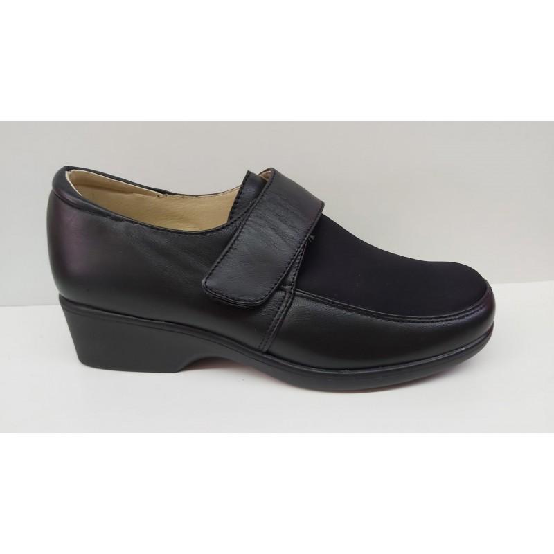 Zapato Confort Piel y Licra Plantilla Extraíble Velcro.