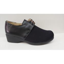 Zapato Confort Piel y Licra Con Cordones Plantilla Extraible.