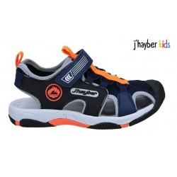 Sandalia Velcro Sport Niño Azul-Naranja. J'hayber