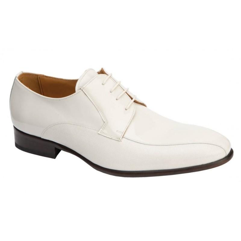 Zapato Piel Charol  Blanco. Jr Almansa