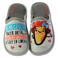 """Zapatillas Casa Invierno de Mujer """"Estoy En Linea"""". Se Me Ríen Los Pies"""