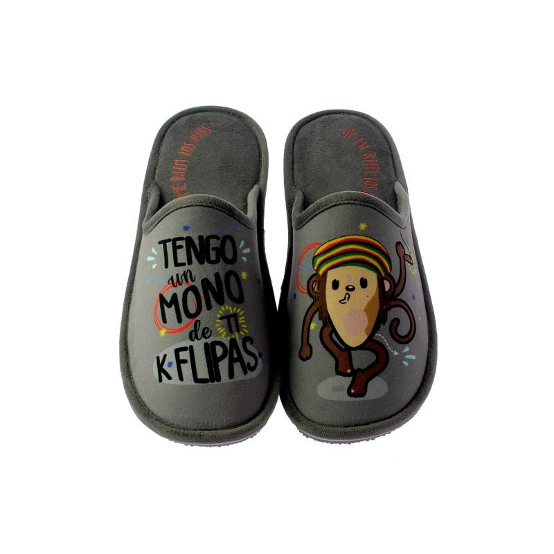 """Zapatillas Casa Invierno Hombre """"Tengo un mono de ti k flipasque flipas"""". Se Me Ríen Los Pies"""
