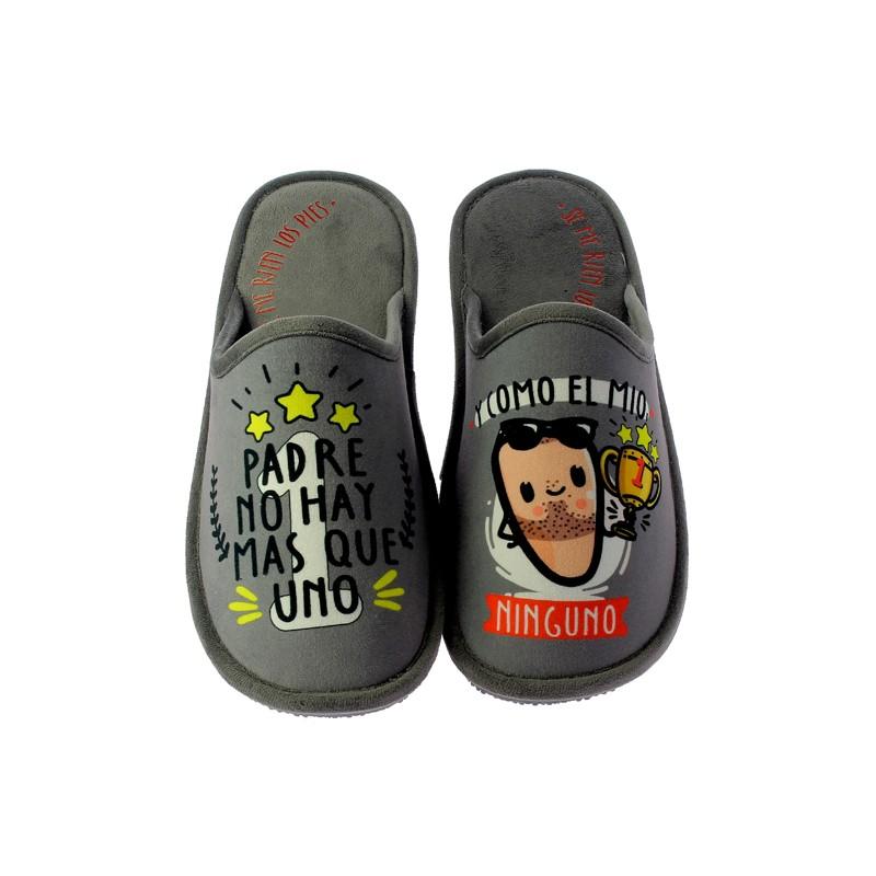 """Zapatillas Casa Invierno Hombre """"Padre no hay más que uno"""". Se Me Ríen Los Pies"""