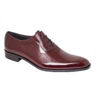 Zapato Novio-Ceremonia Piel Charol Burdeos.