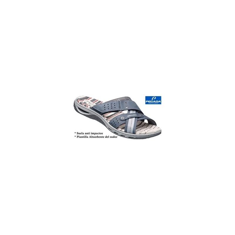 Sandalia Sport Gran Calidad Piel Azul.Pegada