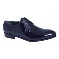 Zapato Hombre de Vestir Novio-Ceremonia Piel Charol Azul Marino.