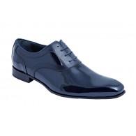 Zapato de Vestir de Hombre para Novio-Ceremonia en Piel Charol Azul Marino.
