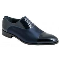 Zapato Novio-Ceremonia Piel Charol  Azul y Raso.