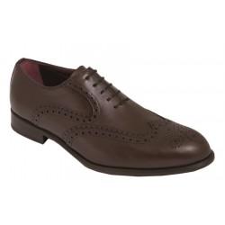 Zapato Blucher de Vestir de Hombre. Todo Piel Caoba. Almansa.