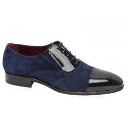 Zapato Elegante de Vestir para Hombre Todo Piel Charol-Ante color Azul. Almansa