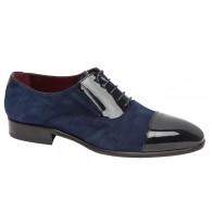 Zapato Elegante de Hombre Todo Piel Charol-Ante color Azul. Almansa
